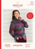 Sirdar Jewelspun Aran Knitting Pattern Booklet - 10030 2 Tone Sweater
